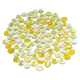 Kit de 100 Galets De Verre Galets De Couleur Unie Parfaits Pour Remplir Des Vases Décorer Des Aquariums - Jaune transparent