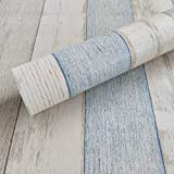 Wollzo Vintage Stripped Blue and White Self Adhesive Wallpaper (45 x 300 cm)