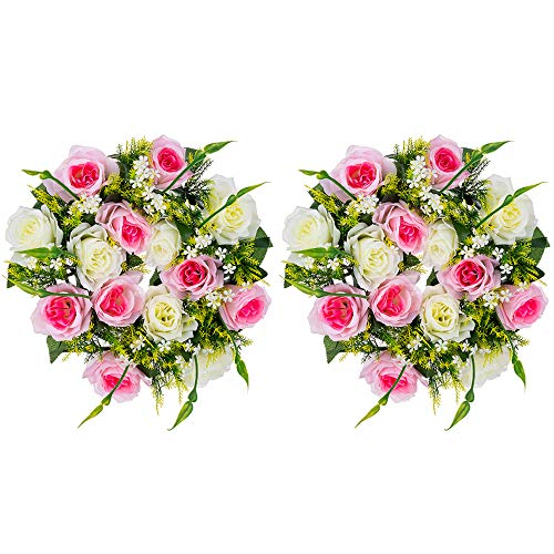 Nuptio 2 Piezas Ramo de Arreglos de Bolas de Flores Artificiales, Rosas Artificiales de 14 Cabezas con Base de Plástico, Adecuado para la Decoración de la Casa del Día de San Valentín(Rosa & Blanco)