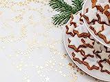 Tischläufer Sterne Gold Metallic, Organza, 28 cm x 5 m | Tischband | Tischdeko Weihnachten + Adventszeit | Deko Weihnachtsfeier - 7