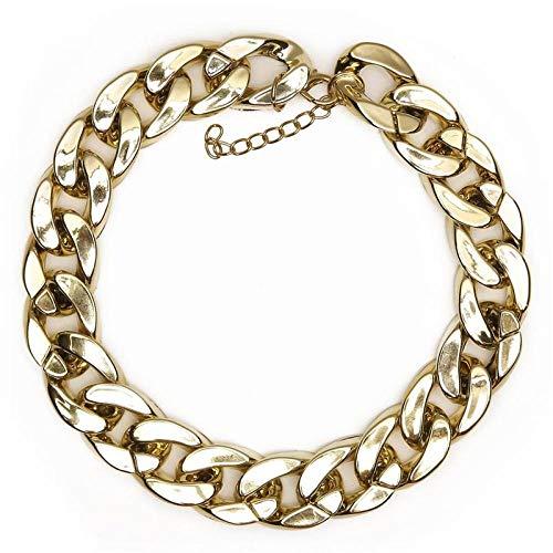 TWWTHX Gotische Halskette Übertriebene extra grobe Coole gefälschte goldene kubanische goldene Katze Hundekette Ketten Halsband Halsreif Halsketten Haustier-2St