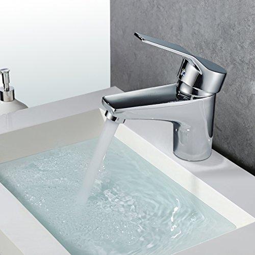 Auralum® Design Einhebel Wasserhahn Armatur Waschtischarmatur Einhandmischer für Badezimmer Waschbecken - 4