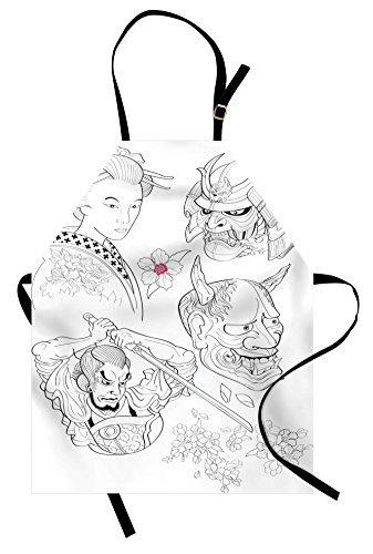 Ambesonne Kabuki Apron, Samurai Warrior and Japanese Woman Portrait Drawings Sakura Blossoms, Unisex Kitchen Bib with Adjustable Neck for Cooking Gardening, Adult Size, Black White Pink