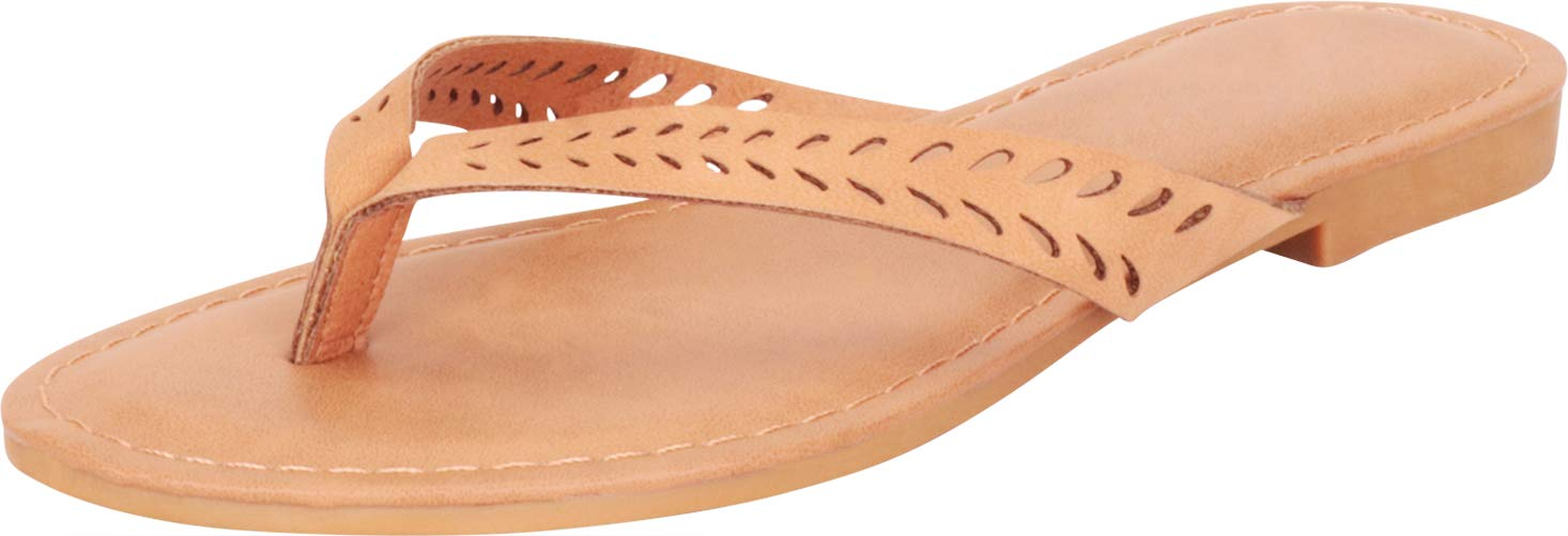 Cambridge Select 女式人字趾激光镂空一脚蹬平底人字拖凉鞋