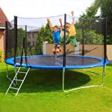 12 FT Kids Trampoline with Enclosure Net, Outdoor Trampoline with Ladder/Thickened Jumping Mat and Spring Cover Padding for Toddler Kids/Adults Family Jumping Outdoor Home Happy Time