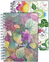"""スパイラルノート、グリーン、A6、両手ポケットサイズ、60シート= 120ページ、両面淡いブルーの市松模様、150 G/Qm、メモ帳、日記帳、手書きパッド""""Green Garden"""" - 変更(シート) - 2S-セット"""