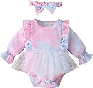 2PCS الرضع التعادل صبغ داخلية الوليد الطفل الفتيات عارضة التدرج بذلة+ عقال (Color : P, Size : 12M)