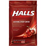 Halls Soothing Syrup Center Cherry Flavor Menthol Drops 25 ea (Pack of 3)
