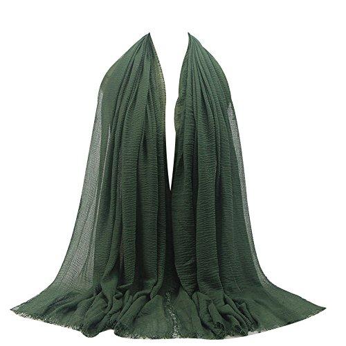KPILP Premium Viskose Maxi Crinkle Cloud Hijab Schal Pashminas Soft Islam Muslim Kopftücher Umhang,Green 21#