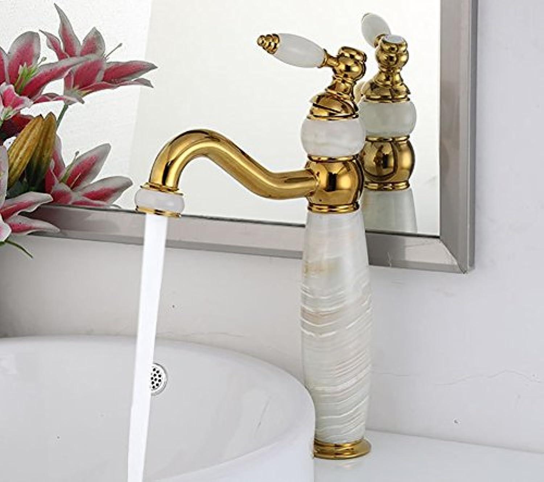 WYRSXPY Waschtischarmatur Retro Wasserhahn Natürliche Jade Messingbeschlge, High-End-Kreativ Desktop Becken Küche Badezimmer Wasserhahn, Schraubenschlüssel Warmes Und Kaltes Wasser Einlochmontage