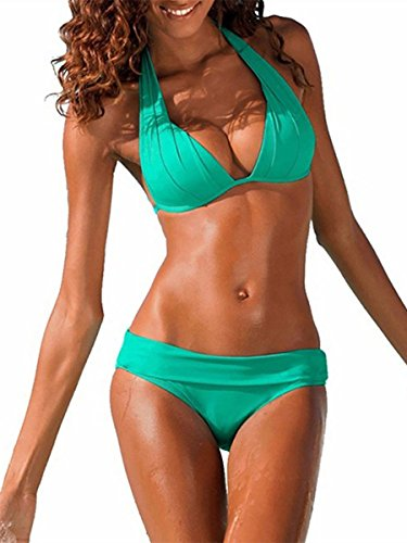 Ybenlover Damen Halter Push Up Bikini Set Neckholder Bandeau Sexy Badeanzug (Large, Grün)