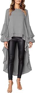 Women's Casual Lantern Sleeve Double Layered High Low Asymmetrical Irregular Hem Tops Blouse Shirt Dress