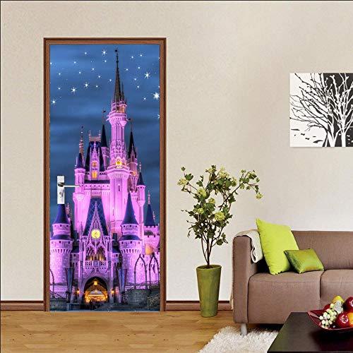 BXZGDJY deurbehang oplichtend slot 90 x 200 cm deurbehang zelfklevend deurposter, zelfklevende 3D-deur-raam-behang- aftrekbare deur-decoratie-plakfolie voor doe-het-zelf interieur