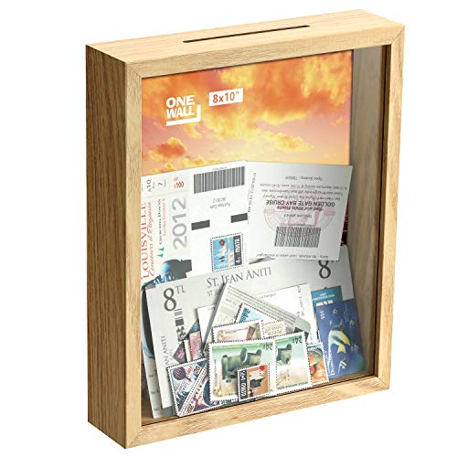 ONE WALL 10x8 inch Deep Ticket Memory Shadow Box Frame Wooden 3D Memory Display Box with Slot Top Loading for Crafts for Wall and Tabletop