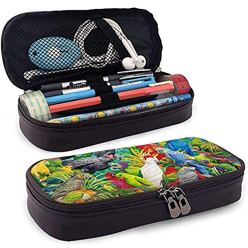 Étui à crayons en cuir Parrots Paradise en cuir, trousse de maquillage de voyage, boîte à étuis