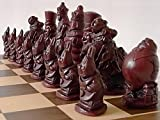 A Full Complete Set of Detailed Novelty Alice in Wonderland Themed Chess Set Chessmen Game Pieces-Based on The Famous Book & Story by Lewis Carroll
