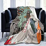 JooKrrix Flannel Fleece Blanket with Pompom Fringe, Cozy Breathable Large Luxury Bed Blanket The Fourth Hokage Naruto Yondaime Minato Namikaze Throw Blanket fit Couch Home Decor Chair, 50x40in