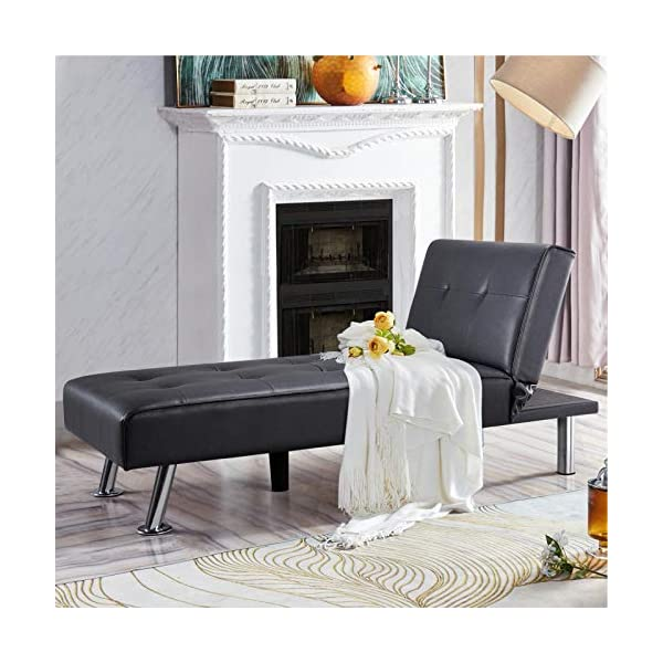 Yaheetech Black Faux Leather Sofa Sleeper Bed 1
