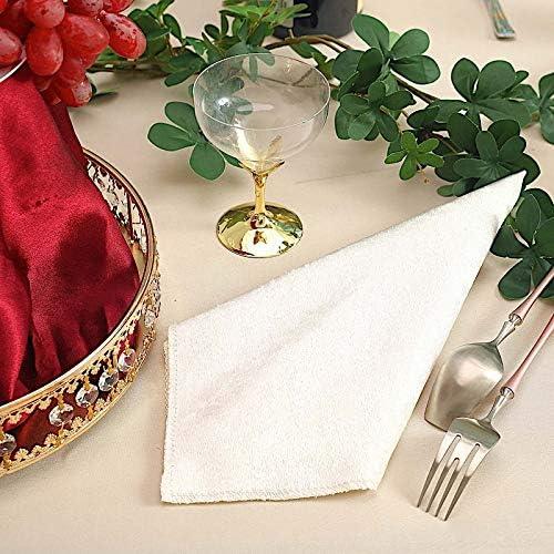 "5 WHITE 20x20/"" Premium Velvet Napkins Wedding Party Reception Events Home Linens"
