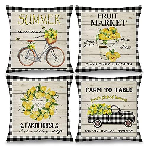 Set von 4 Farmhouse Lemon Throw Pillow Covers Summer Decorative Buffalo Truck Bicycle Cushion Case Soft Linen Kissenbezüge für Sofa Couch, 45,7 x 45,7 cm