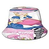 Sombrero de Pesca,Chica Vestida como Alice Wonderland Holding,Senderismo para Hombres y Mujeres al Aire Libre Sombrero de Cubo Sombrero para el Sol