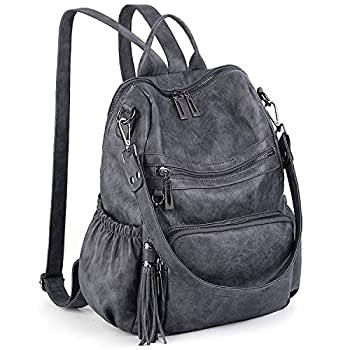 UTO Women Backpack Purse Leather Vegan Ladies Fashion Designer Rucksack Convertible Travel Shoulder Bag with Tassel Grey