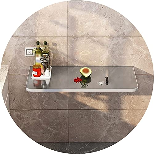 AWSAD Mesa Plegable Cocina Estante de Acero Inoxidable Mesa de Corte De Verduras Plegable Consola de Pared Escritorio Flotante, Varios Tamaños (Color : A, Size : 30X120cm)