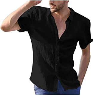 Mens Cotton Linen Shirts Short Sleeve Solid Color Tops Casual Loose Fit Button Down Shirts Turn Down Collar Beach T Shirts