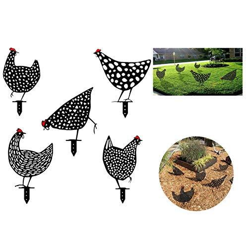 5pcs Metal Animal Stakes, Decorative Garden Stakes,Chicken Yard Art Garden Lawn Floor Decoration Ornament, Hollow Out Animal Shape Decor.