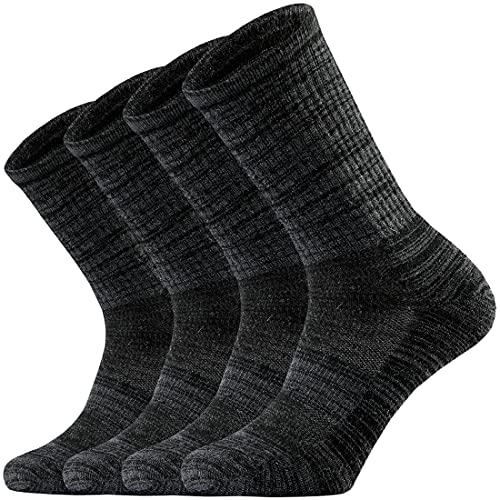 Ortis Men's Merino Wool Moisture Wicking Outdoor Hiking Cushion Crew Socks 4 Pack(Black L)