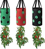Tophacker 3PCS Upside Down Planter Strawberry, Strawberry Planting Grow Bags Strawberry Floral Grow Pots with Handles and 13 Holes for Growing Plant Vegetables