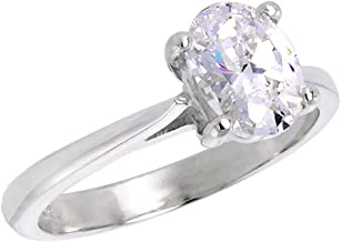 Sterling Silver Cubic Zirconia 8X6mm Oval Cut Solitaire Engagement Ring for Women 1 1/4 ct, Sizes 6-10