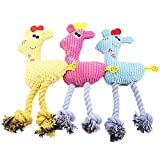 Juguete interactivo de cuerda de vellón de jirafa,KKPLZZ, 3 piezas,juguetes para masticar para perros, juguetes interactivos de cuerda de vellón de jirafa, juguetes interactivos de felpa para mascotas