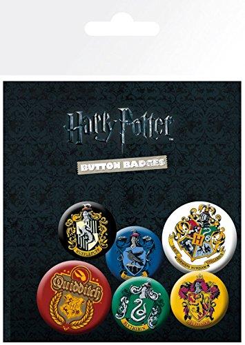 Harry Potter 1art1 Wappen, Hogwarts, Hufflepuff, Slytherin, Gryffindor, 4 X 25mm & 2 X 32mm Buttons Button Pack 15 x 10 cm