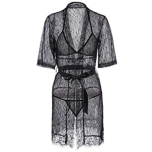 LY-JFSZ Nuisettes Lingerie,Femmes Dentelle Lingerie Sexy Chemise De Nuit Douce Vêtements De Nuit Mis Ensemble Une Pièce Pyjama Ultra-Mince Perspective Taille Réglage Bande Design - 2 Couleurs