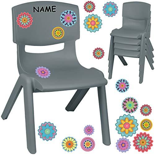 alles-meine.de GmbH Kinderstuhl / Stuhl - Motivwahl - grau - anthrazit + Sticker - Bunte Blumen & Blüten - inkl. Name - Plastik - bis 100 kg belastbar / kippsicher - für INNEN & ..