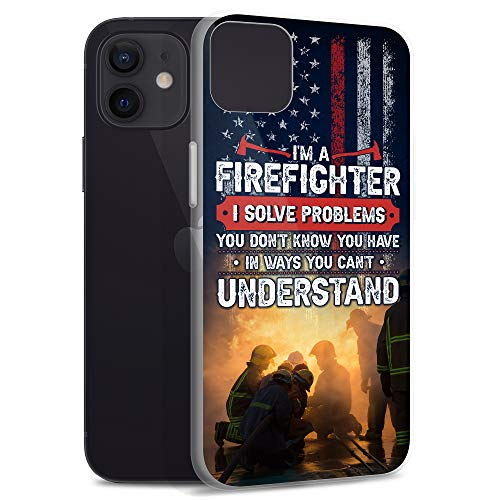 Compatible for iPhone 12 Mini Case Funny Firefighter Meme USA Thin Red Line Design Fireman TPU Shockproof Anti Bumps Scratches
