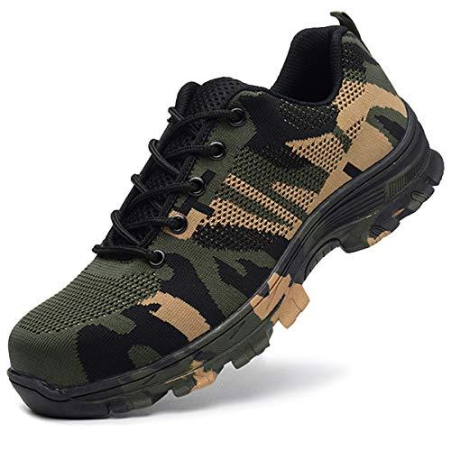 SUADEEX Arbeitsschuhe Damen Herren Sicherheitsschuhe s3 Leicht Stahlkappen Sportlich Schuhe, 05-grün, 48 EU