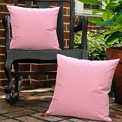 Lewondr Waterproof Outdoor Throw Pillow Cover, 2 Pack Solid PU Coating Throw Pillow Case UV Protection Garden Cushion Cover for Patio Sofa Couch Balcony 18'x18'(45x45cm) - Pink
