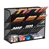 Marbrasse Mesh Desk Organizer, Multi-Functional Pen Holder, Pen Organizer for desk, Desktop Stationary Organizer, Storage Rack for School Home Office Art Supplies (Black)