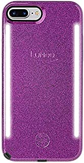 LuMee Duo Phone Case, Dark Purple Glitter | Front & Back LED Lighting, Variable Dimmer | Shock Absorption, Bumper Case, Selfie Phone Case | iPhone 8+ / iPhone 7+ / iPhone 6s+ / iPhone 6+