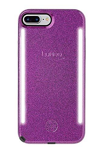 LuMee Duo Handyhülle, dunkelviolett Glitzer | Vorder- und Rückseite LED-Beleuchtung, Variabler Dimmer, Stoßdämpfung, Bumper-Hülle, Selfie-Handyhülle | iPhone 8+ / iPhone 7+ / iPhone 6s+ / iPhone 6+