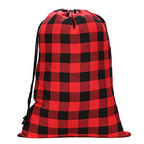 Red Buffalo Plaid Christmas Santa Sack Buffalo Check Drawstring Gift Bag