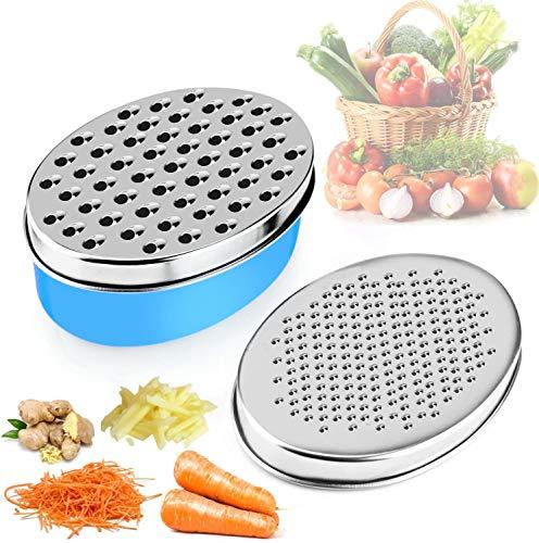APIKA Rallador De Queso con Contenedor de Ahorro de Alimentos y Tapa de Frutas y Verduras (Azul)