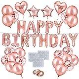O-Kinee Geburtstagsdeko Rosegold Set, Happy Birthday Girlande Ballons Banner Buchstaben Herzfolienballon Rosegold, Luftballons Rose Gold Konfetti für Frauen Mädchen Party Geburtstag Deko