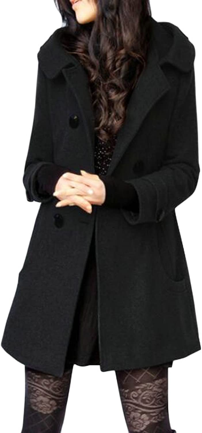 Jofemuho Womens Hoodie Plus Size Double Breasted Winter Wool Blend Trench Pea Coat Overcoat