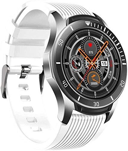 Smart Watch 1 28 pulgadas Super Round Touch Screen Multifuncional Reloj Inteligente para Movimiento de Sueño y Podómetro para Android y Ios-Plata Blanco