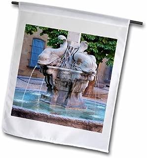 3dRose fl_135823_2 Four Dolphins Fountain, Aix-En-Provence, France EU09 BJN0014 Garden Flag, 18 by 27