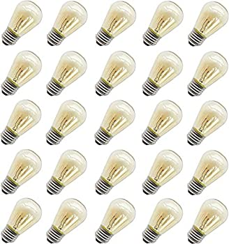 11 Watt Outdoor Light Bulbs Rolay S14 Warm Replacement Bulbs for Outdoor Patio String Lights with E26 Base Pack of 25
