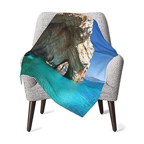 Hdadwy Manta doble para bebé Edredón para bebé Decoraciones para la playa Cueva marina en la isla de Zakynthos en Grecia Vacaciones Relajantes Paisaje marino Imagen de la Costa Azul marfil Manta para